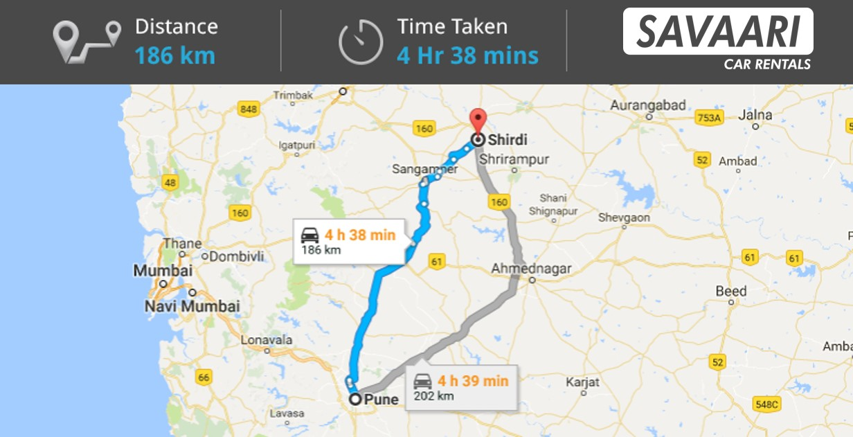Pune to Shirdi by Road